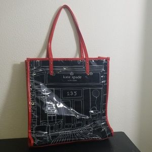 Kate Spade red black white reusable tote bag